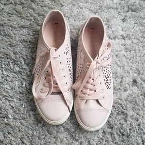 Restricted Pink Laser Cut Sneakers Size 7